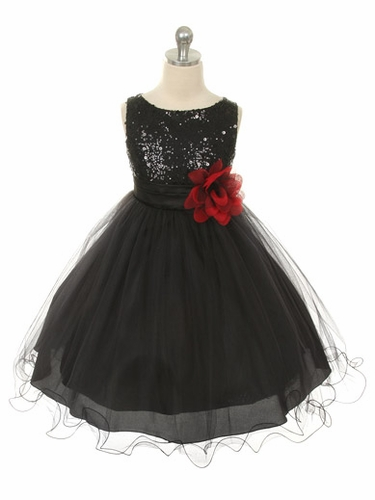 Black Sequined Bodice w/ Double Layered Mesh Dress