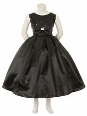 Black Sequins Bodice w/Satin Skirt & Rhinestone Double Bow Pin