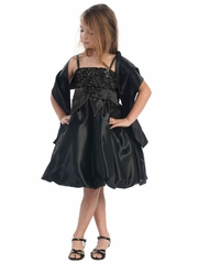 Black Sequins Dress on Satin w/ Shawl