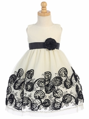 Black Sleeveless Tulle Dress W/ Floral Satin Ribbon