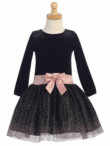 Black Stretch Velvet w/ Sparkling Tulle Dress