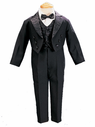 Black Tail Coat Tuxedo w/ Paisley Vest & Bow Tie
