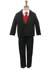 Black Tuxedo w/ Any Color Vest & Clip-On Necktie