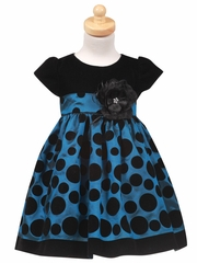 Black Velvet Bodice with Blue Polka Dot Taffeta Skirt