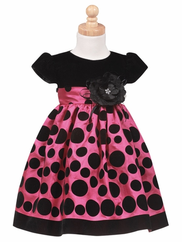 Black Velvet Bodice with Fuchsia Polka Dot Taffeta Skirt