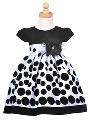 Black Velvet Bodice with White Polka Dot Taffeta Skirt