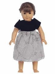 Black Velvet & Silver Corded Mesh 18� Doll Dress