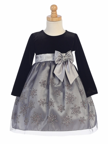 Black Velvet w/ Pink & Silver Glittered Snowflake Tulle Dress