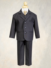 Black w/ Gold  Boys Pin-Striped Suit - 5 Piece Suit