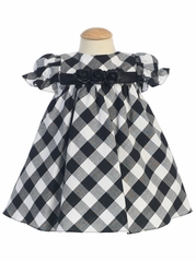Black/White Cotton Gingham Checked Baby Dress