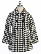 Black/White Houndstooth Pattern Kids Coat