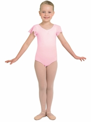 Bloch Pink Tank Leotard w/ Georgette Sequin Sleeves