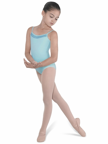 Bloch Turquoise Beaded Front Neckline w/ Shaped Back Leotard