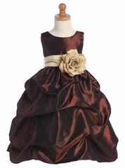 Blossom Brown Sleeveless Gathered Taffeta Dress w/ Detachable Sash