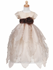 Blossom Champagne Organza Dress w/ Petals Skirt