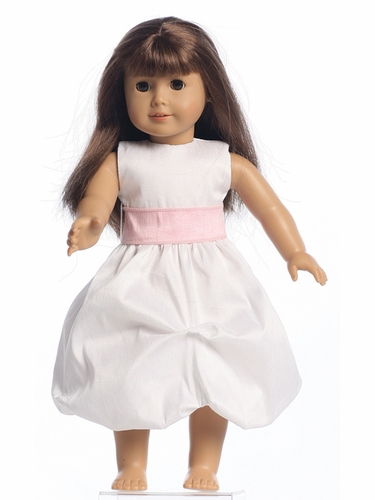 "Blossom Sleeveless Gathered Shantung Organza Dress w/Interchangeable Sash for 18"" Doll"