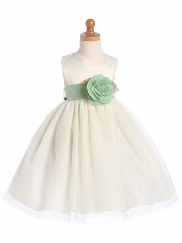 Blossom Ivory Sleeveless Satin Bodice and Tulle Skirt w/ Detachable Sash and Flower