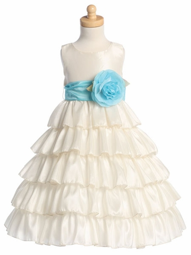 Blossom Ivory Sleeveless Taffeta Bodice Layered Skirt w/ Detachable Sash & Flower
