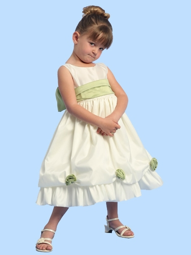 Blossom Ivory Sleeveless Taffeta Dress w/ Detachable Flowers and Sash