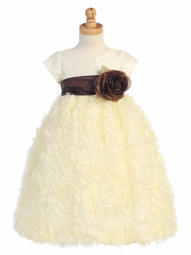 Blossom Ivory Taffeta Bodice & Rose Patch Tulle Skirt Dress w/ Detachable Flower & Sash