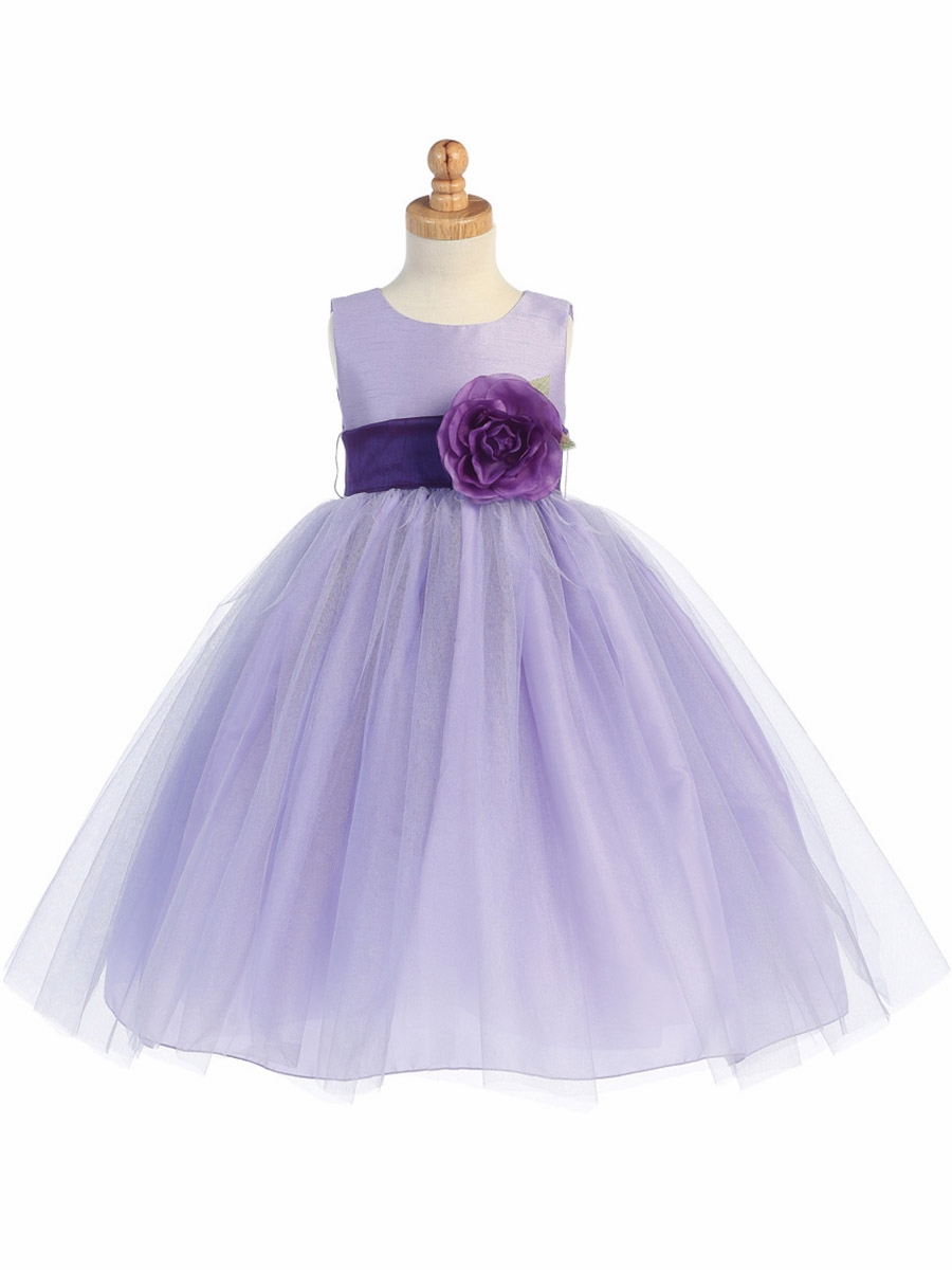 Lilac poly silk bodice amp tulle skirt dress w detachable flower amp sash