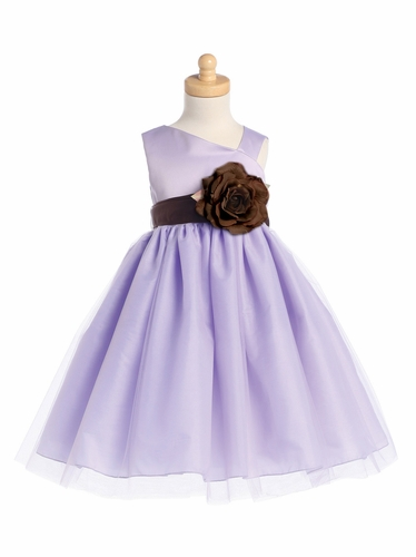 Blossom Lilac Sleeveless Satin Bodice and Tulle Skirt w/ Detachable Sash and Flower