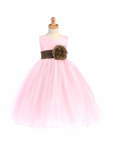 Blossom Pink Poly Silk Bodice & Tulle Skirt Dress w/ Detachable Flower & Sash