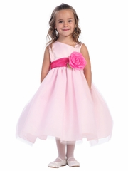 Blossom Pink Satin Bodice & Tulle Skirt w/ Detachable Sash & Flower
