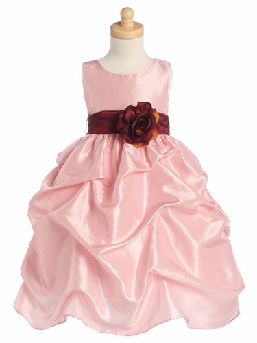 Blossom Pink Sleeveless Gathered Taffeta Dress w/ Detachable Sash