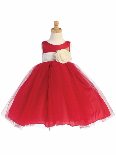 Blossom Red Poly Silk Bodice & Tulle Skirt Dress w/ Detachable Flower & Sash