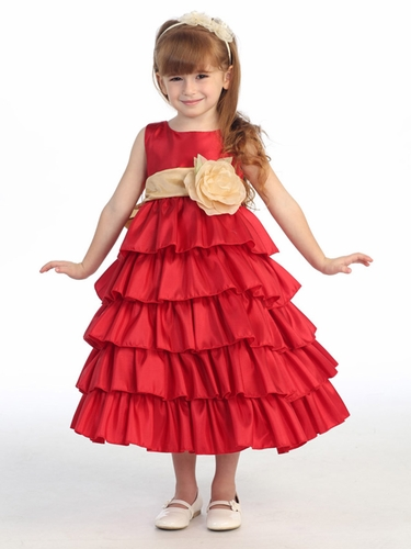 Blossom Red Sleeveless Taffeta Bodice Layered Skirt w/ Detachable Sash & Flower