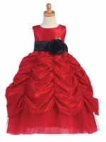 Blossom Red Taffeta Dress w/ Shirred Skirt and Detachable Sash & Flower