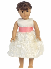Blossom Satin Bodice & Floral Ribbon Skirt Dress w/ Detachable Sash for 18� Doll