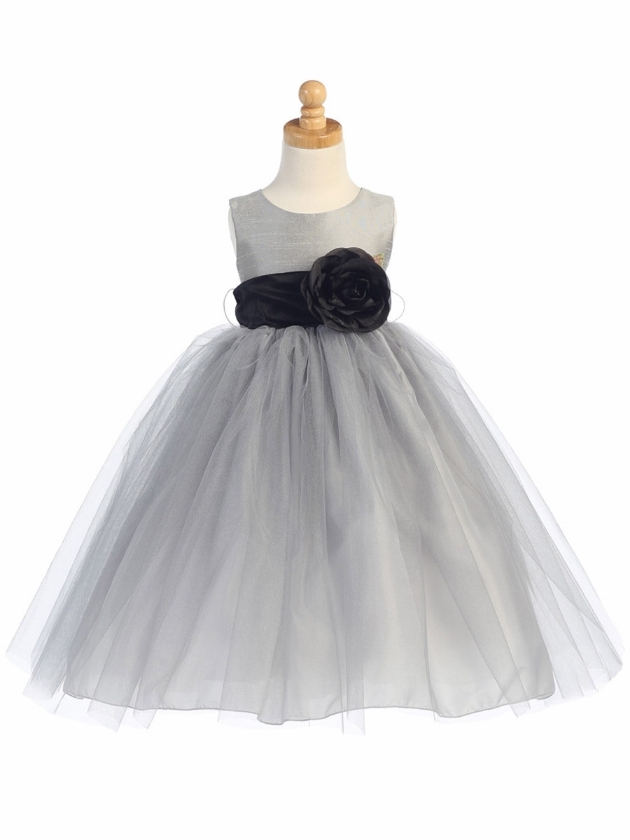 Silver Poly Silk Bodice & Tulle Skirt Dress w/ Detachable Flower ...
