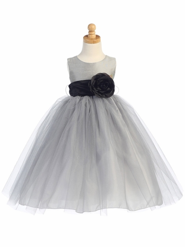 Blossom Silver Poly Silk Bodice & Tulle Skirt Dress w/ Detachable Flower & Sash