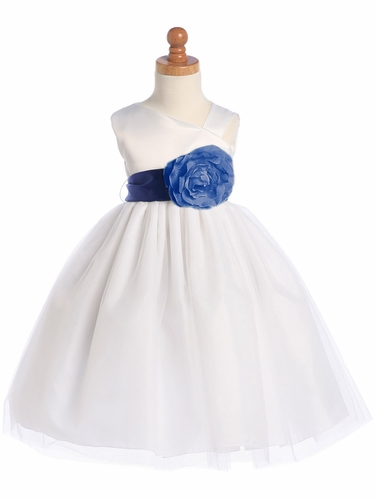 Blossom White Sleeveless Satin Bodice and Tulle Skirt w/ Detachable Sash and Flower