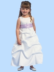 Blossom White Sleeveless Satin Gathered A-Line Dress w/Detachable Sash