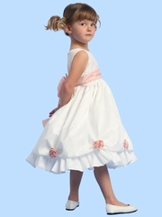 Blossom White Sleeveless Taffeta Dress w/ Detachable Flowers and Sash
