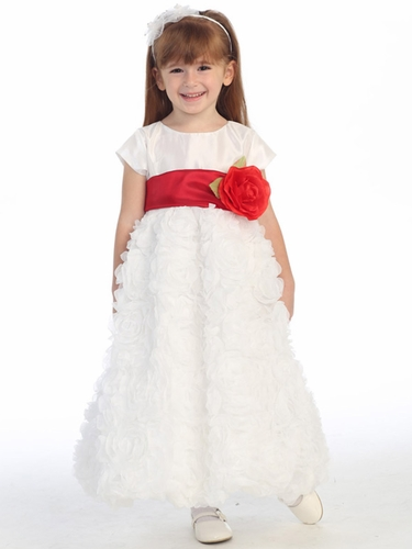 Blossom White Taffeta Bodice & Rose Patch Tulle Skirt Dress w/ Detachable Flower & Sash