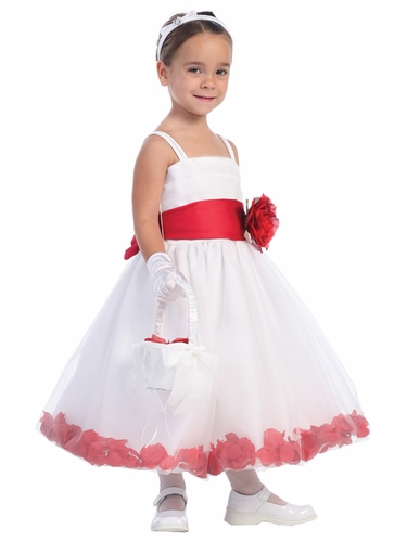 Blossom White Sleeveless Tulle Dress w/ Detachable Sash, Flower, & Petals