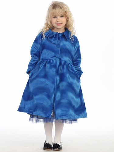 Blue 3 Button Collard Coat