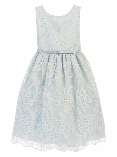 Blue Chrysanthemum Mesh w/ Scallop Dress