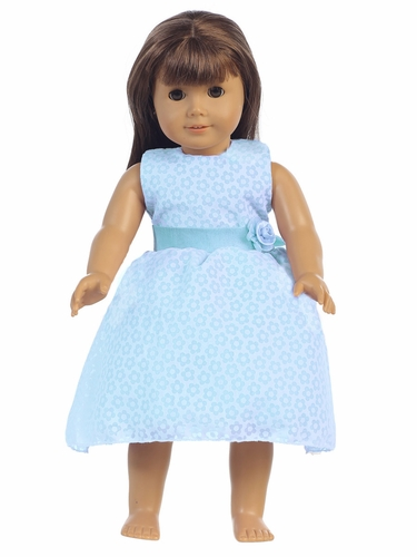"Blue Cotton Floral Burnout 18"" Doll Dress"
