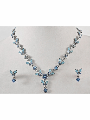 Blue Crystal Flower w/ Leaf Earrings & Necklace Set