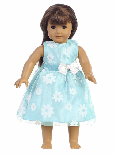 "Blue Flower Flocked Tulle 18"" Doll Dress"