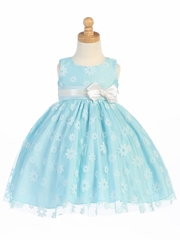 Blue Flower Flocked Tulle Dress