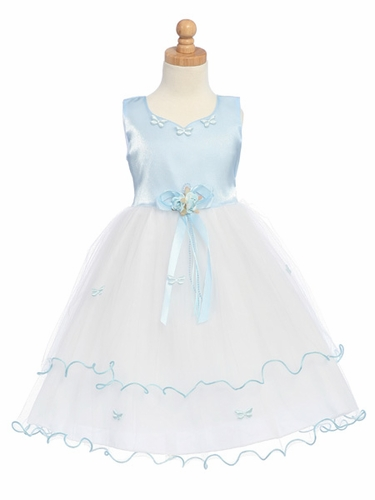 Blue Flower Girl Dress - Matte Satin Bodice with Butterflies