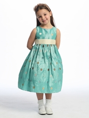 Blue Flower Girl Dress - Polka-Dot Embroidered Organza