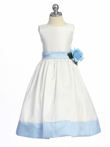 Blue Flower Girl Dress - Sleeveless Shantung w/ Sash