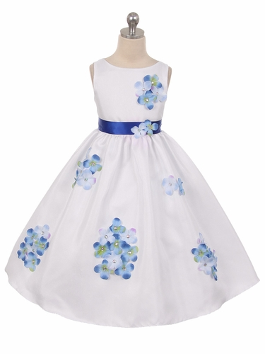 Blue Flower Petal Shantung Dress